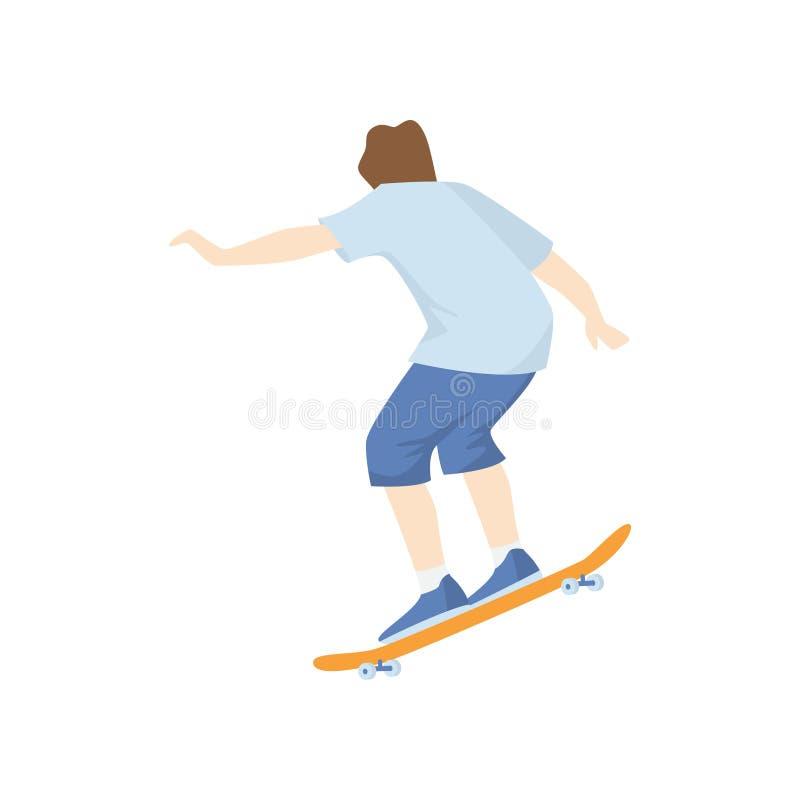 Skateboardfahrer hinunter den Hügel an der hohen Geschwindigkeit lokalisiert auf weißem Hintergrund lizenzfreie abbildung