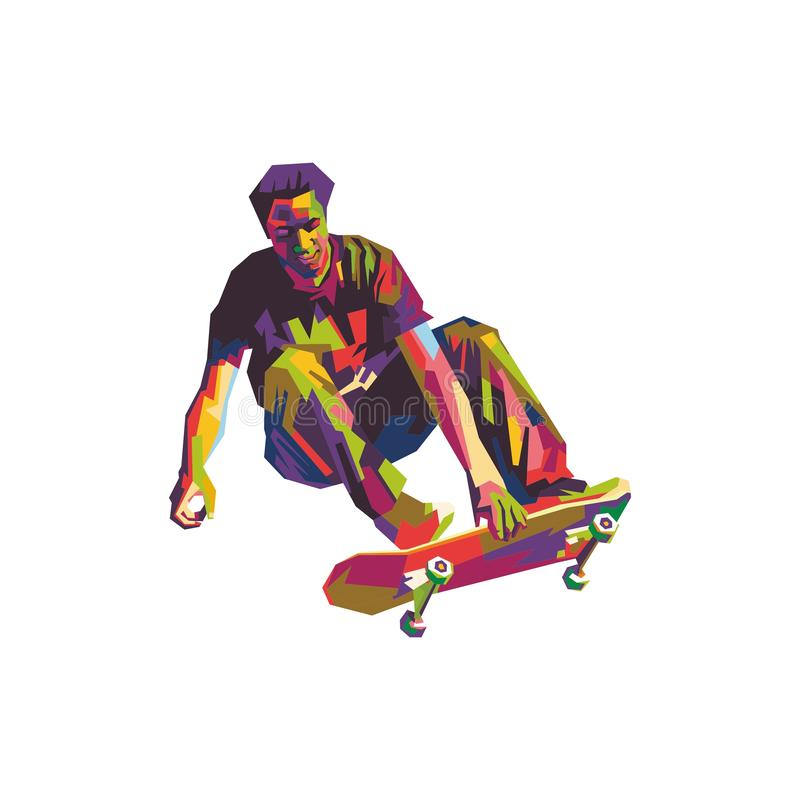 Skateboardfahrer im wpap stock abbildung