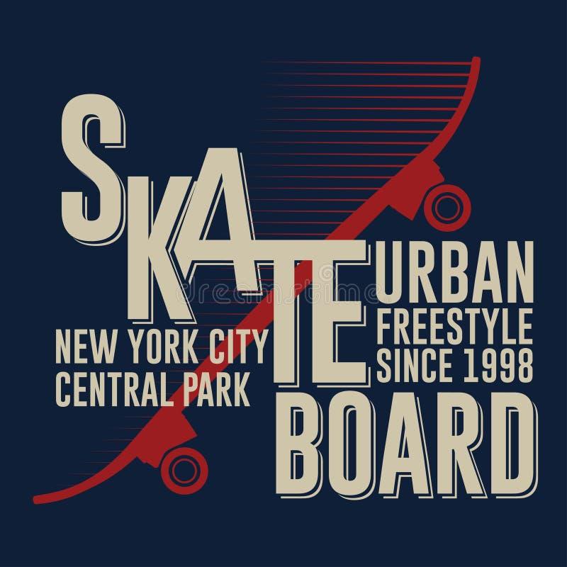 Skateboarding графический дизайн футболки Нью-Йорка иллюстрация вектора