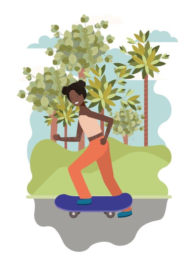 Skateboarding чернокожей женщины практикуя в парке иллюстрация штока