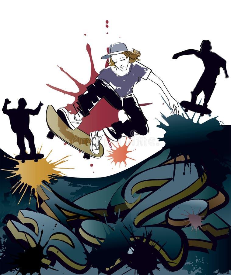 Skateboarding adolescente ilustração do vetor