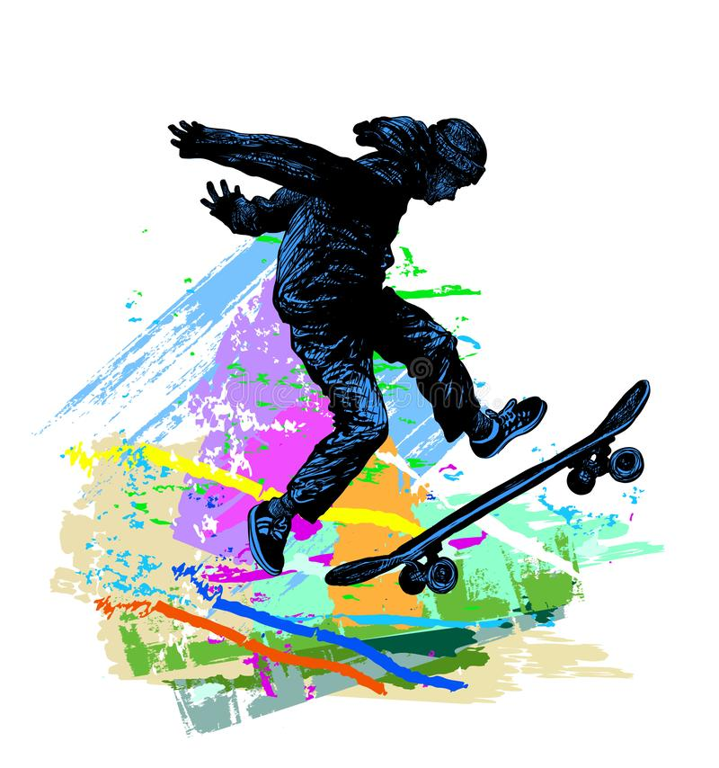 Free Skateboarding Background. Extreme Sports Illustration With Guy Skater Royalty Free Stock Photography - 162069777