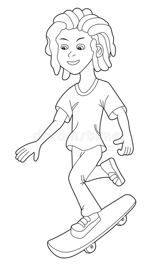 Skateboarding boy cartoon royalty free stock photo