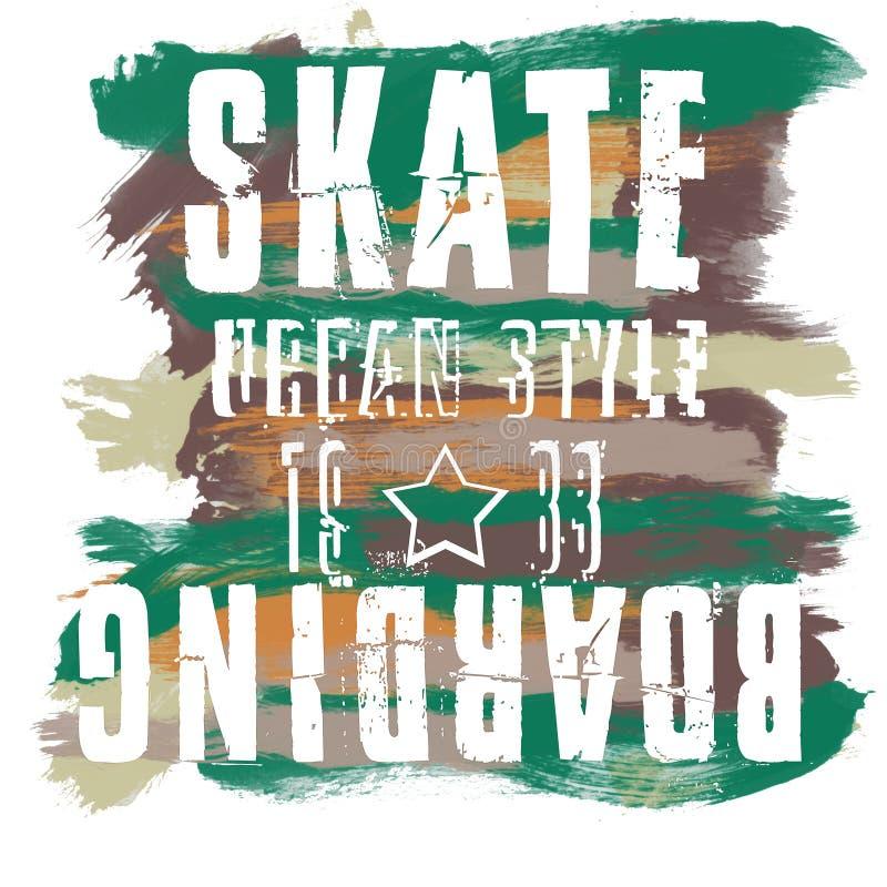 Skateboarding city art. Street graphic style SK8. Fashion stylish print. Template apparel, card, label, poster. emblem, t-shirt stock illustration