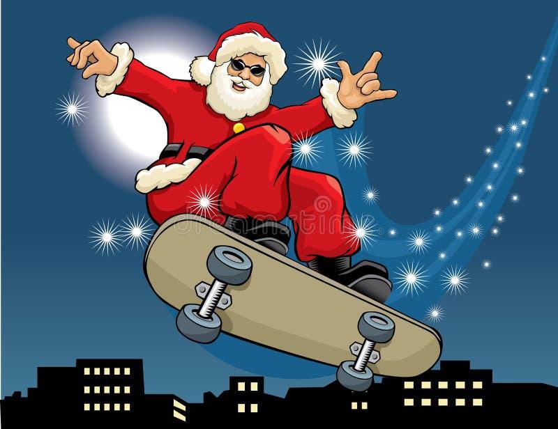 Skateboarding de Papai Noel ilustração royalty free