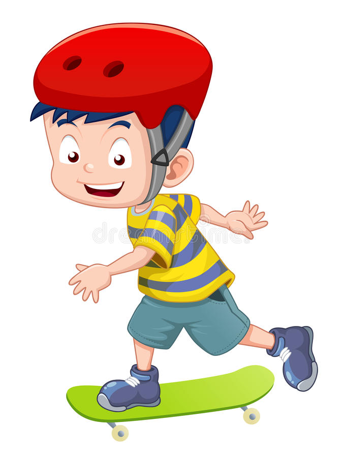 Skateboarding de petit garçon illustration de vecteur