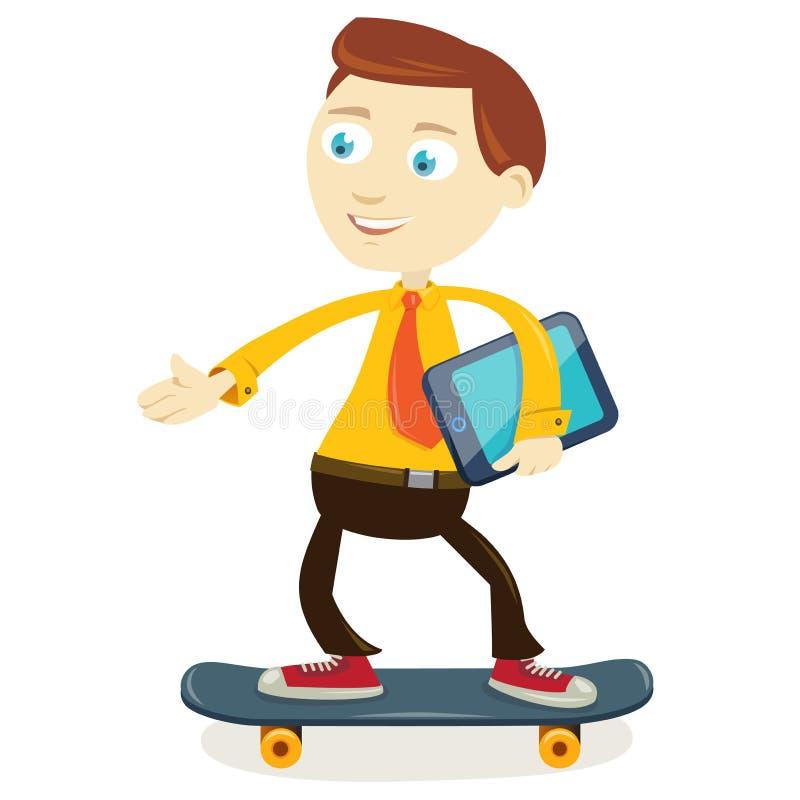 Skateboarding do homem de negócios fotografia de stock royalty free