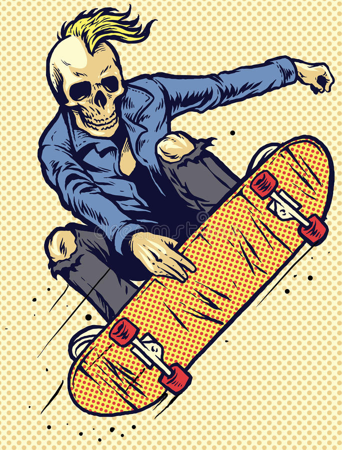 Skateboarding do jogo do crânio do estilo do desenho da mão ilustração stock