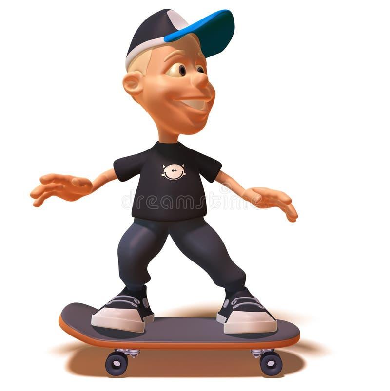 Skateboarding do miúdo ilustração royalty free