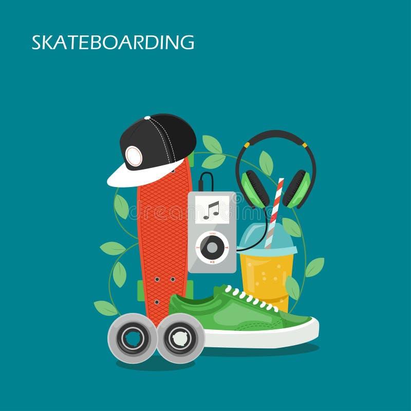 Skateboarding för stildesign för fastställd vektor plan illustration stock illustrationer