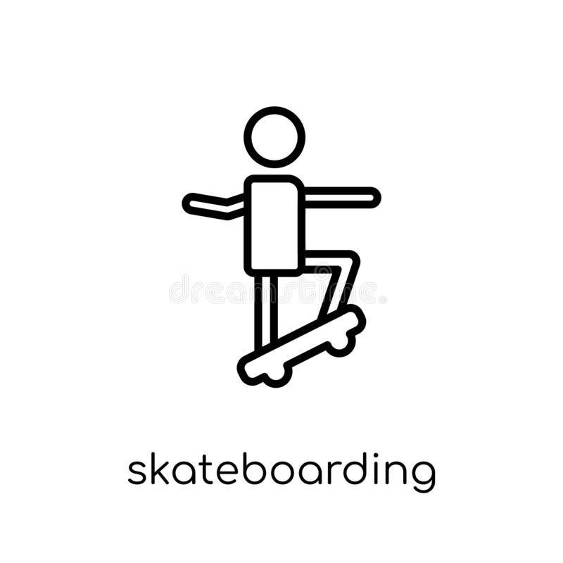 Skateboarding icon. Trendy modern flat linear vector Skateboarding icon on white background from thin line Activity and Hobbies c royalty free illustration