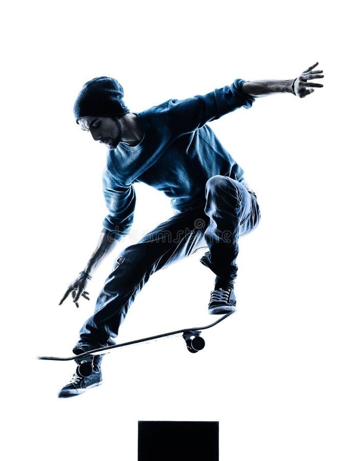 Skateboarding kontur för manskateboarder fotografering för bildbyråer