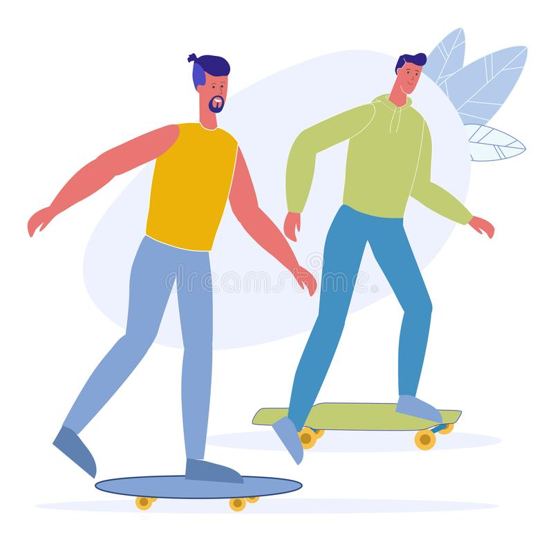 Skateboarding Leisure, Hobby Vector Illustration. Happy Skateboarder, Hipsters Cartoon Characters. Young Adults, Young Men Riding Together. Summer Activity royalty free illustration