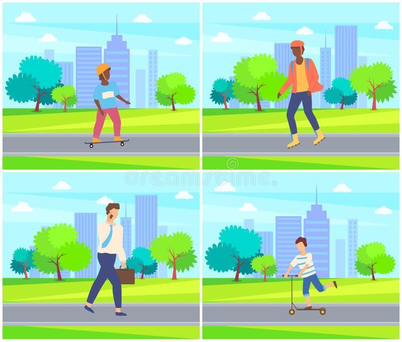 Skateboarding nel parco della città, camminata del bambino della gente illustrazione di stock