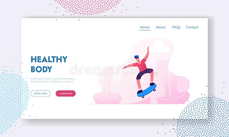 Skateboarding Outdoors Activity Website Landing Page. Young Man Riding Skateboard in Skate Park. Skater Boy Character royalty free illustration