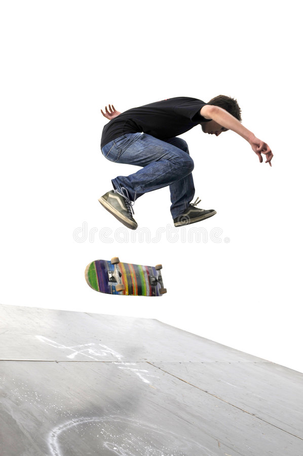 Skateboarding praticando do menino fotografia de stock royalty free