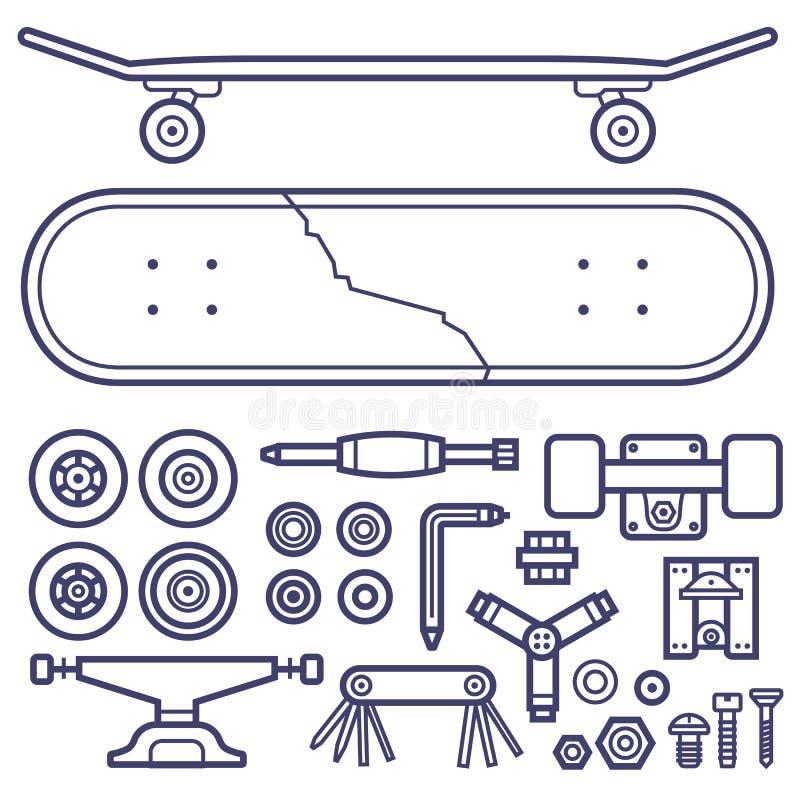 Skateboarding Repair Icon Set. Skateboard repair icon set. Skating and skateboarding tools for repairing service. Skate board repairs equipment. Multi tool stock illustration
