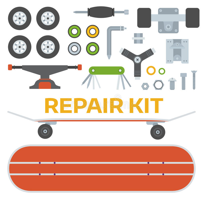 Skateboarding Repairs Kit. Skateboard riding repair kit. Skating and skateboarding tools for repairing. Skate boarding repairs equipment. Multi tool, screw-bolt royalty free illustration