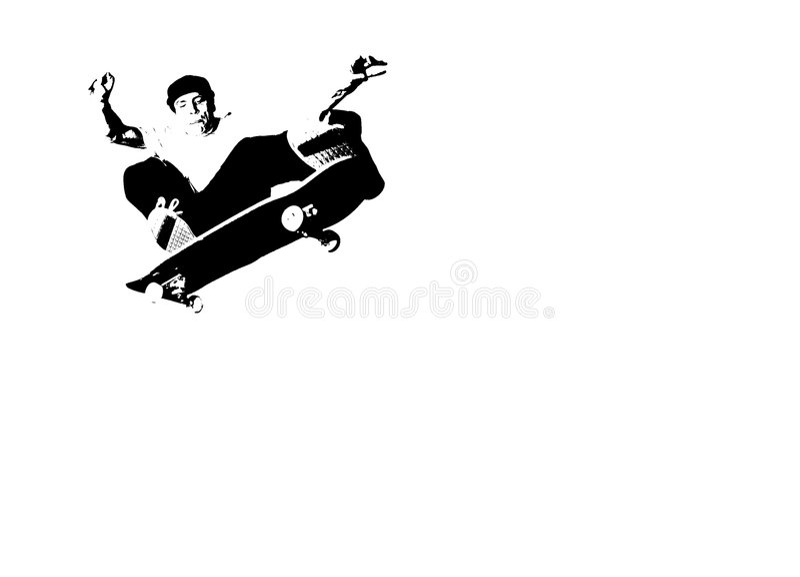Skateboarding Schattenbild lizenzfreie abbildung