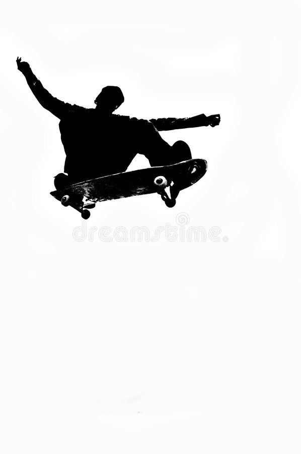 Skateboarding Schattenbild stockfoto