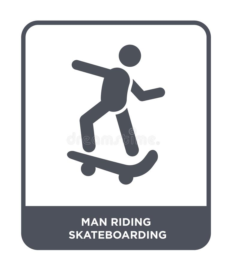 skateboarding symbol för manridning i moderiktig designstil skateboarding symbol för manridning som isoleras på vit bakgrund manr royaltyfri illustrationer