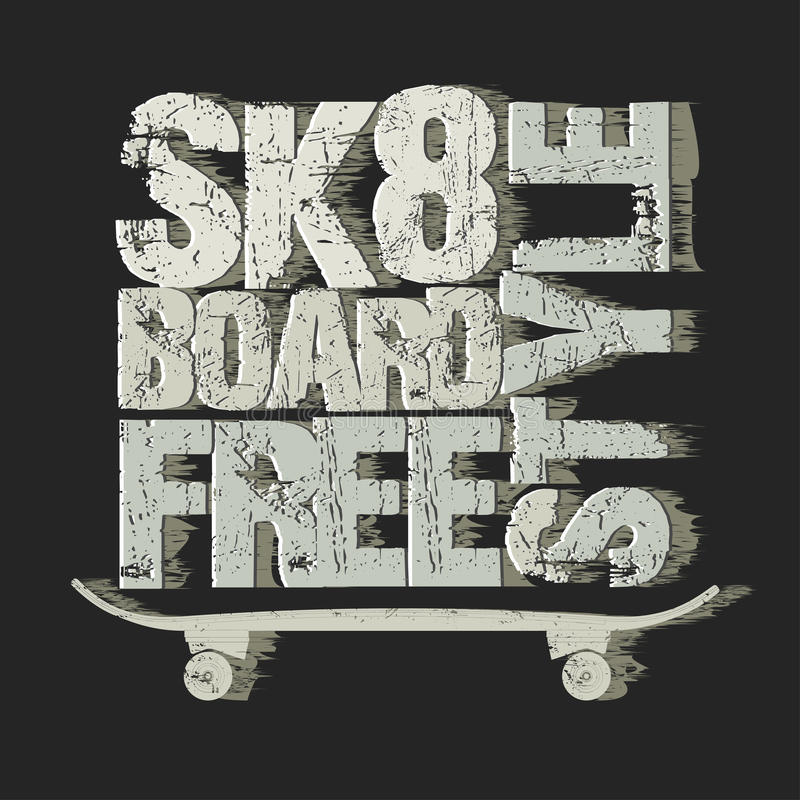 Skateboarding t-shirt emblem vector illustration