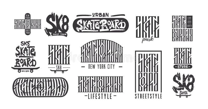 Skateboarding typography t-shirt design. Urban freestyle skating. stock illustration