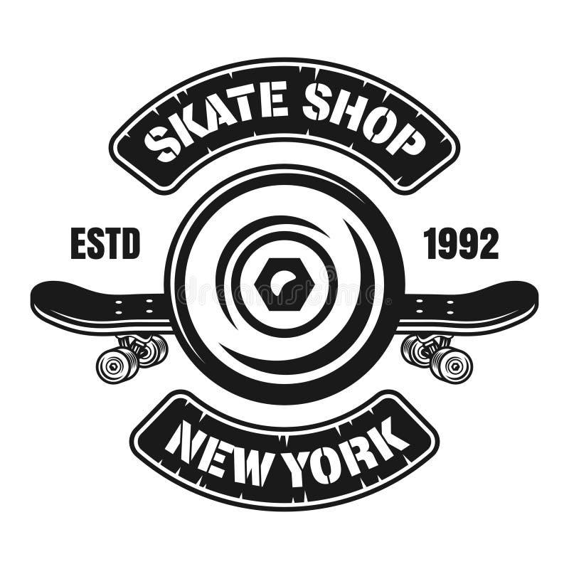 Skateboarding vector emblem with wheel and deck vector illustration