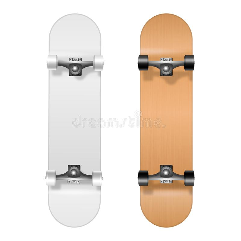 Skateboarding. Vector Realistic 3d White and Wooden Blank Skateboard Icon Set Closeup Isolated on White Background vector illustration