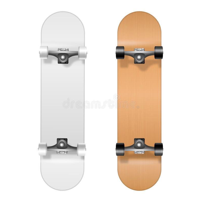 skateboarding Vettore 3d realistico bianco e primo piano in bianco di legno dell'insieme dell'icona del pattino isolato su fondo  illustrazione vettoriale