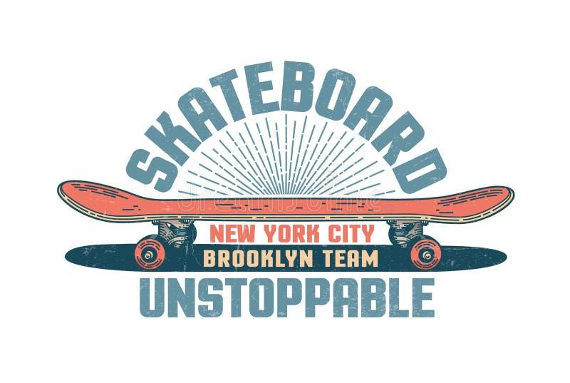 Skateboarding vintage emblem with red skateboard and inscriptions vector illustration