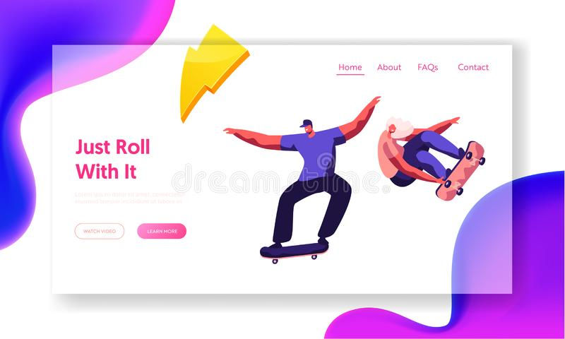 Skateboarding Website Landing Page. Stylish Skating Teenagers Making Stunts and Tricks, Jumping on High Speed on Boards vector illustration