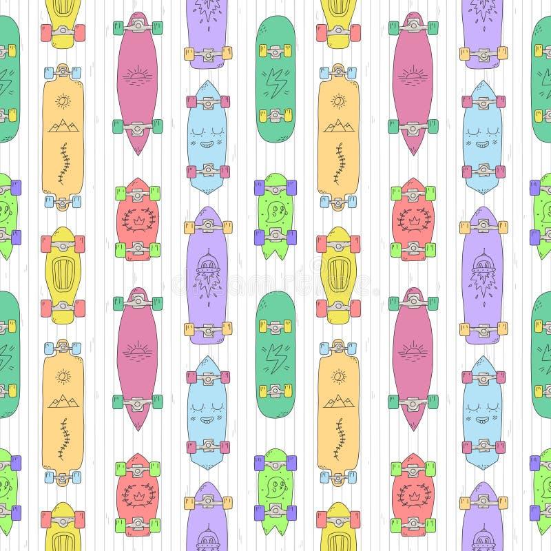 Skateboards en longboards het vector naadloze patroon van de beeldverhaalstijl royalty-vrije illustratie