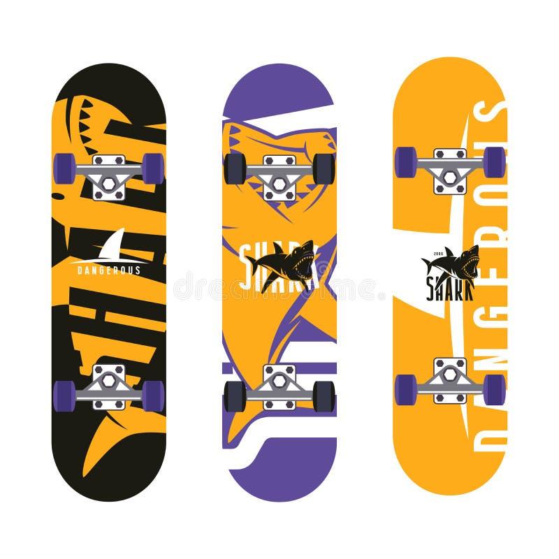 Skateboards grafisch ontwerp met het beeld van haaien royalty-vrije illustratie