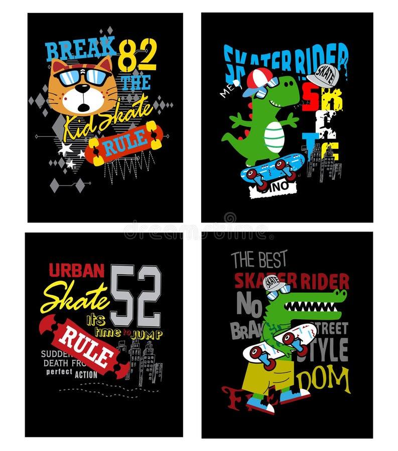 Skateboardsatzkarikaturtypographie-T-Shirt Spott oben stock abbildung