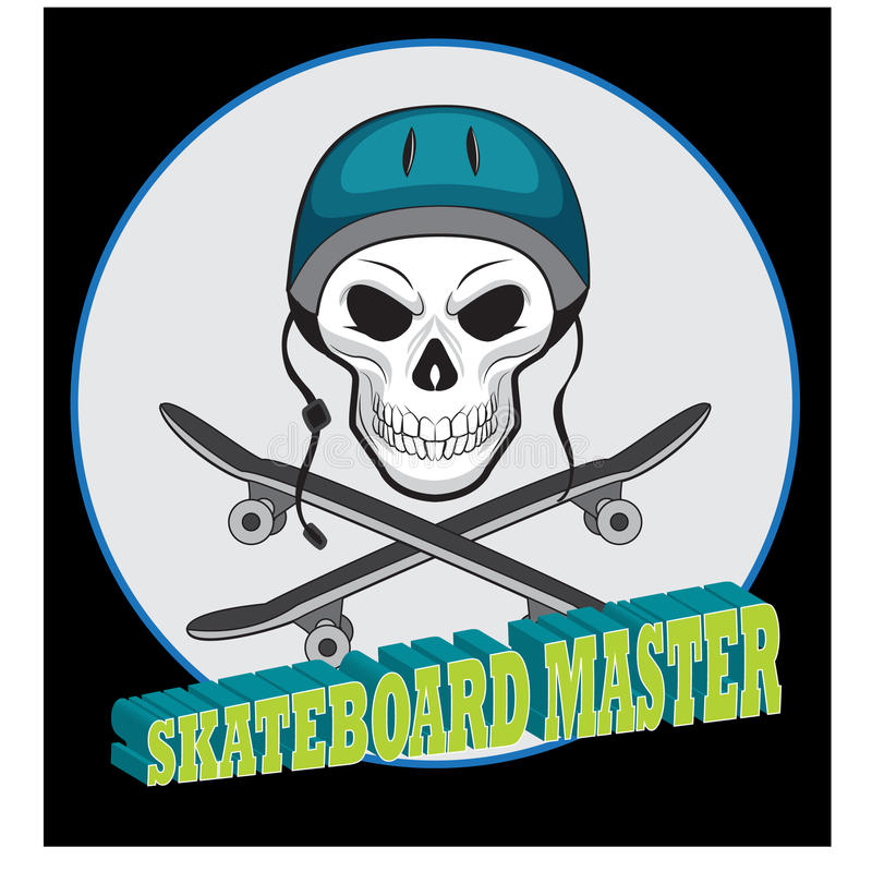 Skateboardschädel, für Tätowierung oder T-Shirt Designillustration stock abbildung