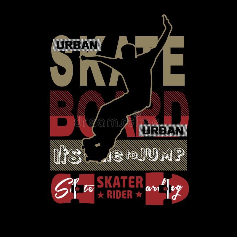 Skateboardschattenbildtypographie-T-Shirt Spott oben stock abbildung