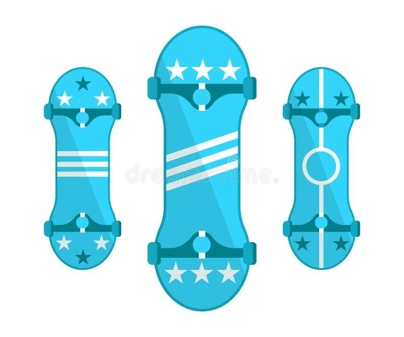 Skateboardssymbolen op Witte Vectorreeks worden geïsoleerd die stock illustratie