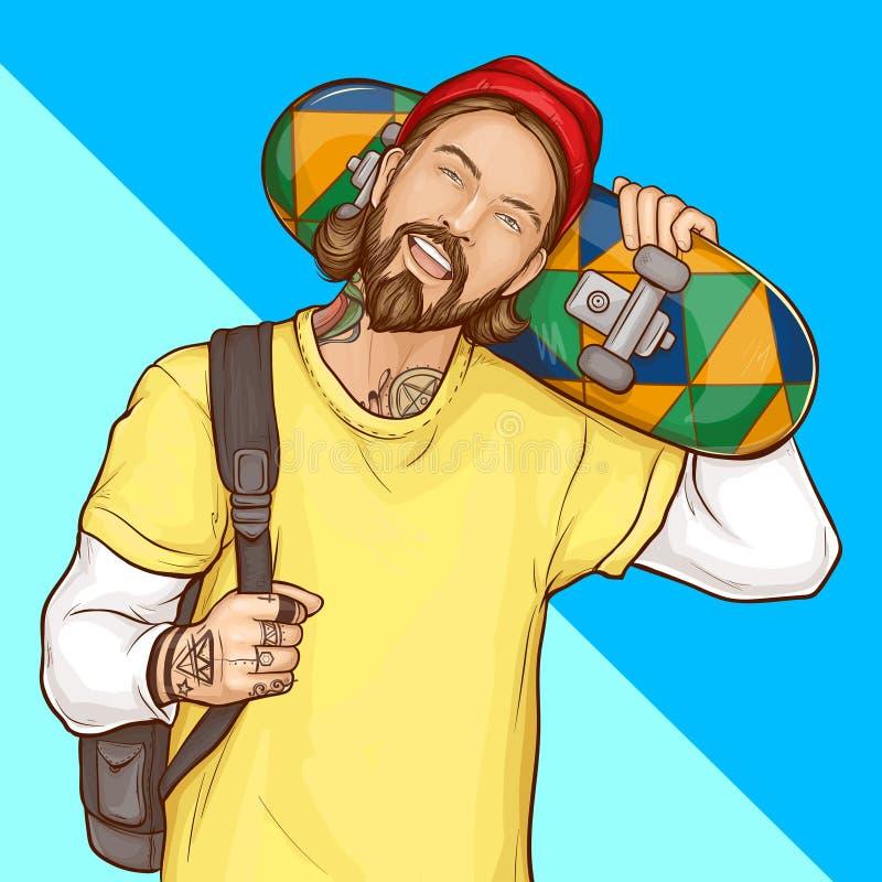 Skateboradåkarepojke, hipsterinnehavskateboard, popkonst vektor illustrationer