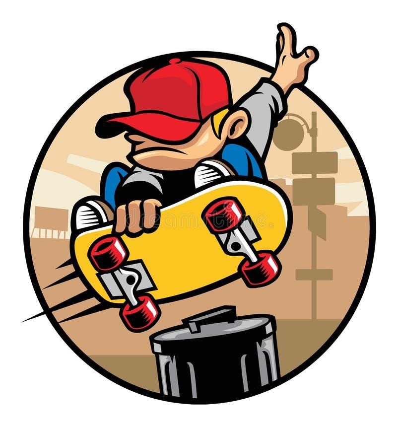 Skateboradåkarepojke som gör ett trickhopp vektor illustrationer