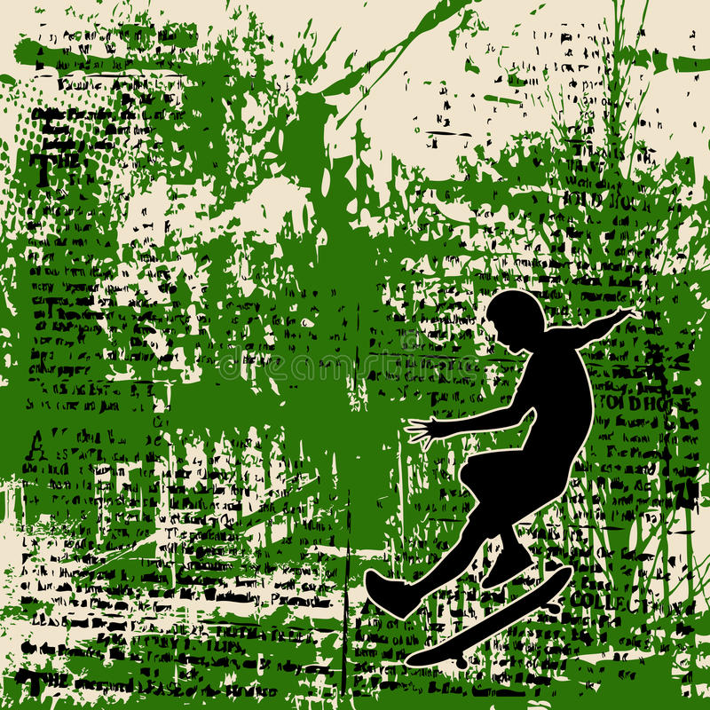 Skateboy Grunge. Background grunge illustration of a boy with skateboard over blurred newsprint vector illustration