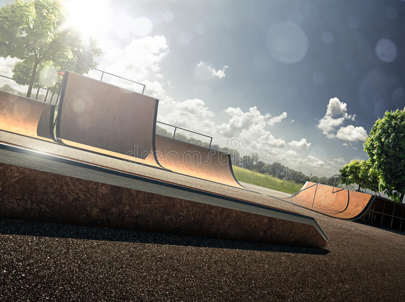 Skatepark. In sunny day and blue sky stock images