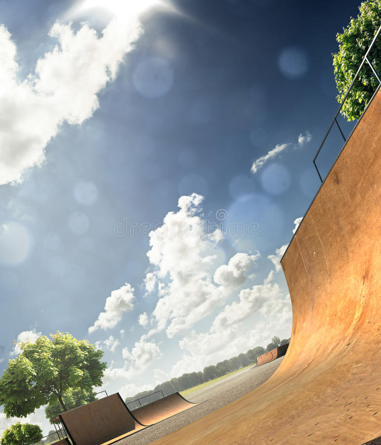 Skatepark. In sunny day and blue sky royalty free stock images