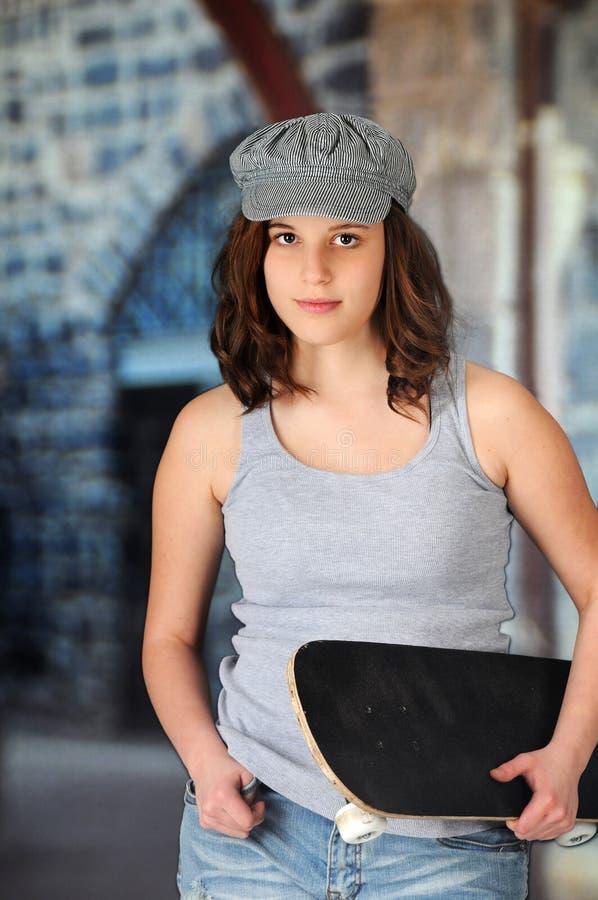 Skater adolescente de Girrl fotografia de stock royalty free