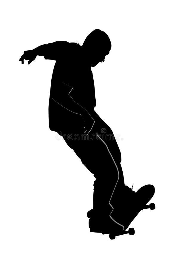 Skater adolescente no branco ilustração do vetor