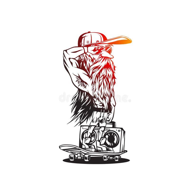 Skater alegre novo que monta uma ilustração do vetor do skate ilustração do vetor