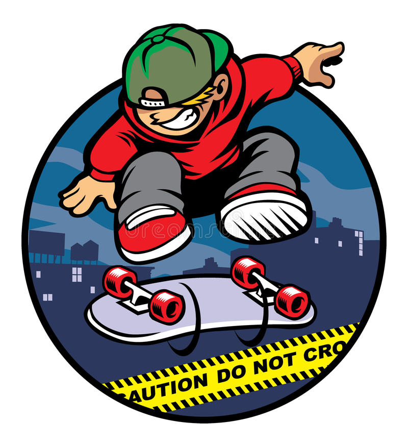Free Skater Boy Doing Kickflip Over Police Line Stock Photography - 35695482