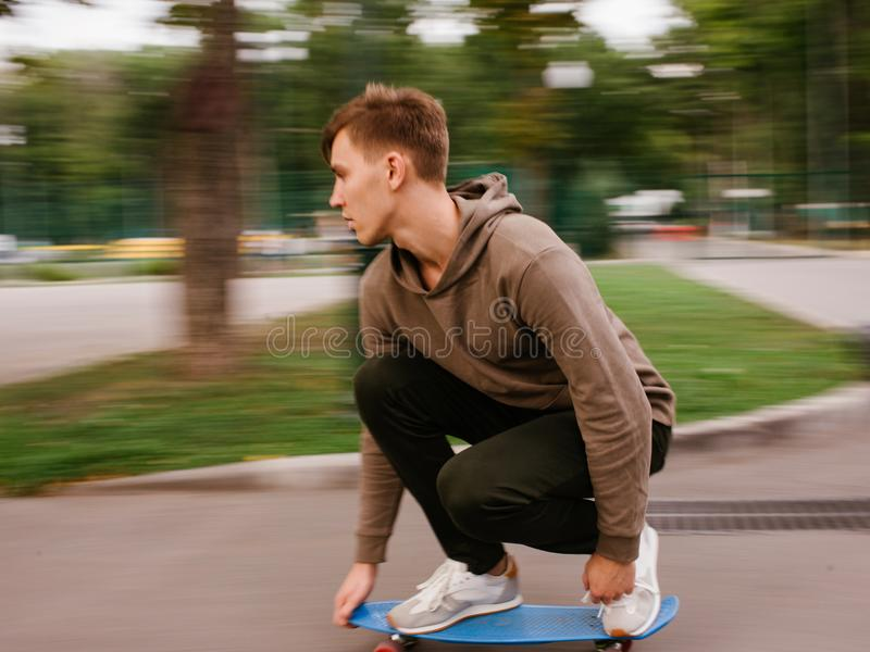 Skater boy modern hipster lifestyle blur speed stock image