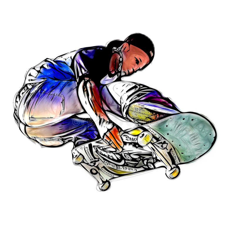 Skater de salto ilustração stock