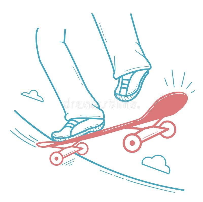 Skater del icono que hace un truco de salto, ilustración del vector